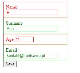 :has - efekt użycia do kolorowania walidacji formularza